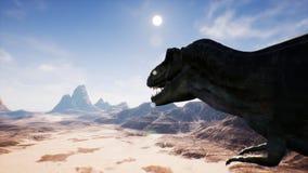 Animazione di T Rex Tyrannosaur Dinosaur in deserto Realistico renda rappresentazione 3d illustrazione vettoriale