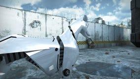 Animazione di un cane del robot in città apocalittica rappresentazione 3d archivi video