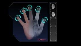Animazione di un esame della mano per la sicurezza o l'identificazione illustrazione vettoriale