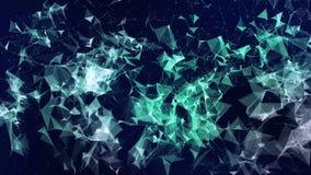 Animazione di un legame di cristallo della particella della molecola della rete del poligono triangolare geometrico astratto 3d d illustrazione di stock