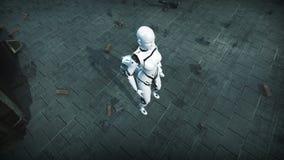 Animazione di una donna del robot e di un cane del robot in città rovinata stock footage