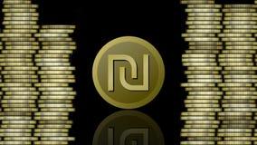 Animazione di valuta, moneta simbolica dello shekel israeliano che compare, rispecchiantesi e scomparente, colonne dorate delle m illustrazione di stock