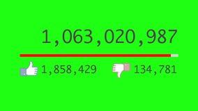 Animazione di video contatore che aumenta rapidamente a 1 miliardo viste Chromakey ha incluso Molta delle avversioni illustrazione di stock