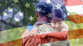 Animazione digitale concettuale che mostra un bambino che abbraccia il soldato americano al ritorno della casa archivi video