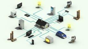 Animazione dimensionale di concetto 3 astuti di tecnologia degli elettrodomestici 2 illustrazione vettoriale
