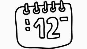 Animazione disegnata a mano dell'illustrazione del fumetto dell'icona del calendario trasparente stock footage