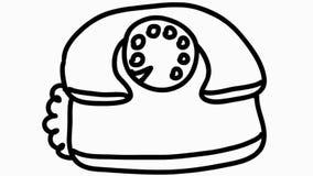 Animazione disegnata a mano della vecchia del telefono illustrazione del fumetto trasparente stock footage
