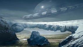 Animazione fantastica di stupore della terra, paesaggio fantastico con il UFO video d archivio