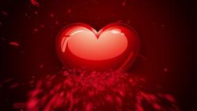 Animazione felice del cuore del ` s del biglietto di S. Valentino, fatta dei petali rosa archivi video