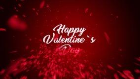 Animazione felice del testo di giorno del ` s del biglietto di S. Valentino, fatta dei petali rosa video d archivio