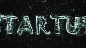 Animazione futuristica 3D di testo Startup che è costituito dalla programmazione del codice illustrazione vettoriale