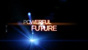 Animazione futuristica della luce di tecnologia con FUTURO POTENTE del testo, ciclo HD 1080p