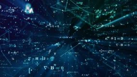 Animazione futuristica di Digital con per la matematica, le formule di fisica e la griglia della rete a maglia illustrazione vettoriale