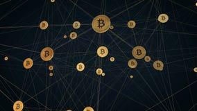 Animazione 4K della rete cablata di Bitcoin stock footage