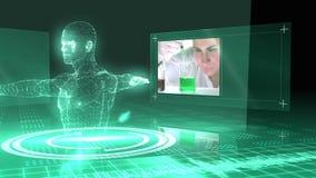 Animazione medica con il grafico vitruvian dell'uomo video d archivio