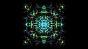 Animazione multicolore astratta di frattale in composizione quadrata, effetto di fumo variegato Ornamento simmetrico piacevole so video d archivio