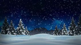 Animazione nevosa e paesaggio di inverno della neve con gli alberi di Natale ed asciutti ed il fondo della montagna illustrazione vettoriale