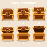 Animazione per gradi aperta e petto di legno chiuso Immagini Stock
