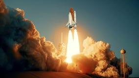 Animazione realistica 3D della navetta spaziale che lancia al rallentatore Elementi di questo video ammobiliato dalla NASA stock footage
