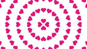 Animazione rosa 4K del ciclo di vibrazione della carta del modello del cerchio di simbolo del cuore illustrazione di stock