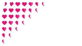 Animazione rosa 4K del ciclo di vibrazione della carta del modello di simbolo del cuore illustrazione di stock