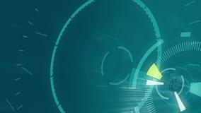 Animazione rotonda astratta blu, fondo di ciao-tecnologia con i cerchi Effetto futuristico di HUD di fantascienza royalty illustrazione gratis