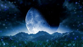 Animazione scenica dello spazio del paesaggio di sogno della luna royalty illustrazione gratis