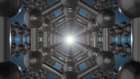 Animazione senza cuciture loopable della struttura del graphene Atomi di carbonio scuri riflettenti nella forma del favo royalty illustrazione gratis