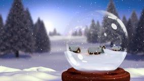Animazione sveglia di Natale della capanna in globo della neve in foresta magica illustrazione di stock