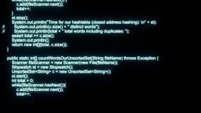 Animazioni di codifica di Java stock footage