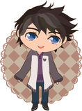 Anime boy. Cute anime boy standing on simple background Stock Illustration