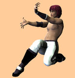 Anime Boy Fighter. 3d Asian boy warrior in Anime style Royalty Free Stock Image