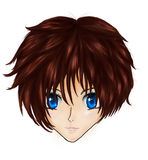 Anime brunette girl face Royalty Free Stock Photo