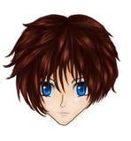 Anime Brunette-Mädchengesicht vektor abbildung