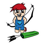 Anime cartoon boy with bow and arrow Stock Photo