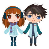 Anime couple. Anime boy and girl holding hands Stock Illustration