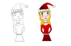 anime dziewczyna Santa Zdjęcia Royalty Free