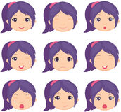 Anime dziewczyny emocja: radość, niespodzianka, strach, smucenie, stroskanie, płacze Fotografia Stock