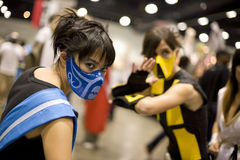Anime Expo 2008 15. Anime Expo 2008, Los Angeles Convention Center, July 5th, 2008: Anime fans portraying Scorpion and Sub-Zerom from the video game Mortal stock photography