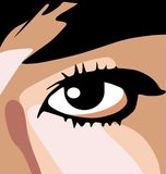Anime Eye. Anime style vector drawing of a womans face, close-up on the eye Stock Image