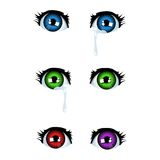Anime eyes. Crying eyes in anime style (different color variations Stock Photography