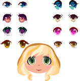 Anime eyes set. Set of anime eyes with blond girl head Royalty Free Stock Images