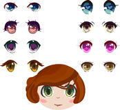 Anime eyes set. With brunette girl head Royalty Free Stock Photos
