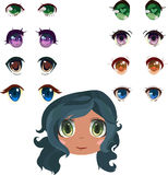 Anime eyes set. With brunette girl head Stock Photos
