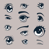 Anime  eyes. Anime style eyes  set Stock Photos