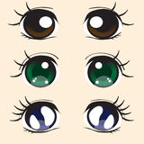Anime eyes. Three pairs of large eyes in the anime style Royalty Free Stock Image