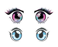 Anime eyes. Two pairs of eyes in anime style stock illustration