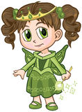 Anime Fairy Princess Girl Vector Cartoon. Vector clip art illustration of a brown haired girl wearing a fairy princess costume, drawn in an anime or manga style stock illustration