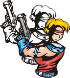 Anime fighters 15. Anime fighter with pistol. Anime fighters Royalty Free Stock Images