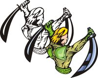 Anime fighters 30. Fighter with two sabbers. Anime fighters Royalty Free Stock Photos